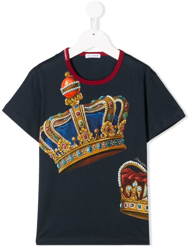 DOLCE & GABBANA CHILDREN: Crown print cotton t-shirt Color Blue_1