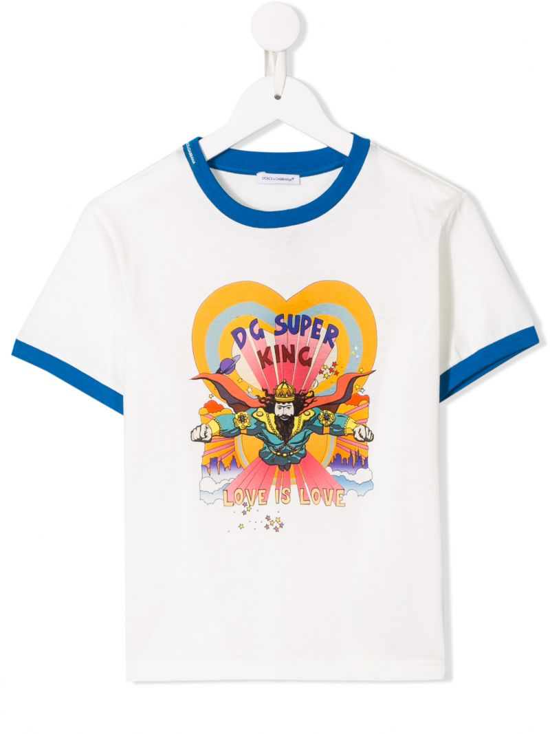 DOLCE & GABBANA CHILDREN: DG Super King print jersey t-shirt Color Neutral_1