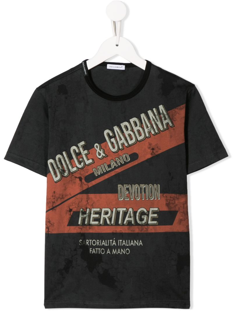 DOLCE & GABBANA CHILDREN: Heritage print jersey t-shirt Color Black_1