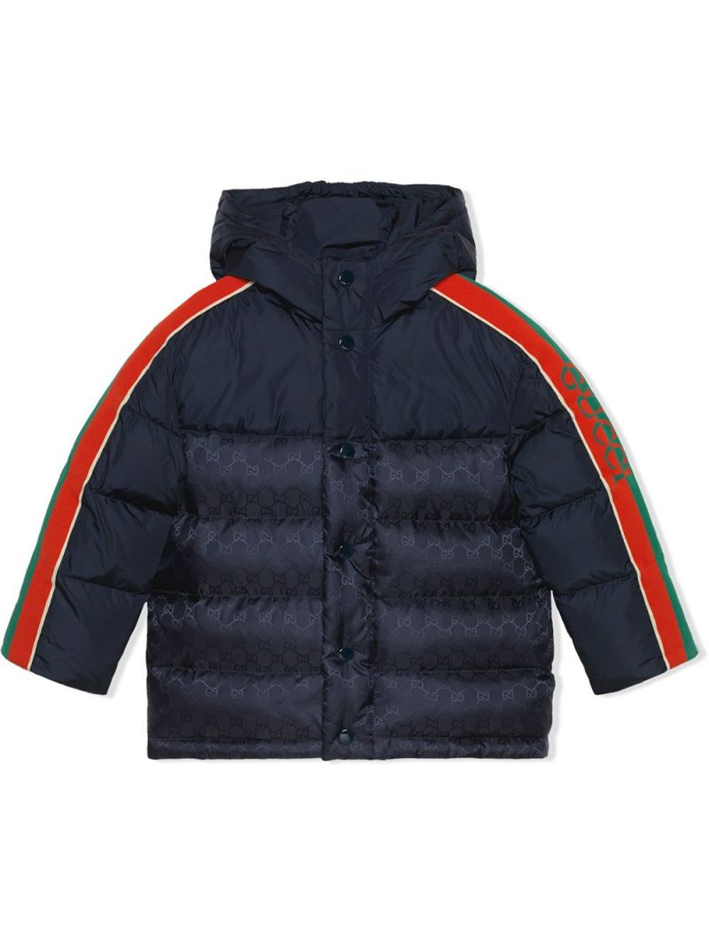 GUCCI CHILDREN: Gucci band-detailed nylon down jacket Color Blue_1