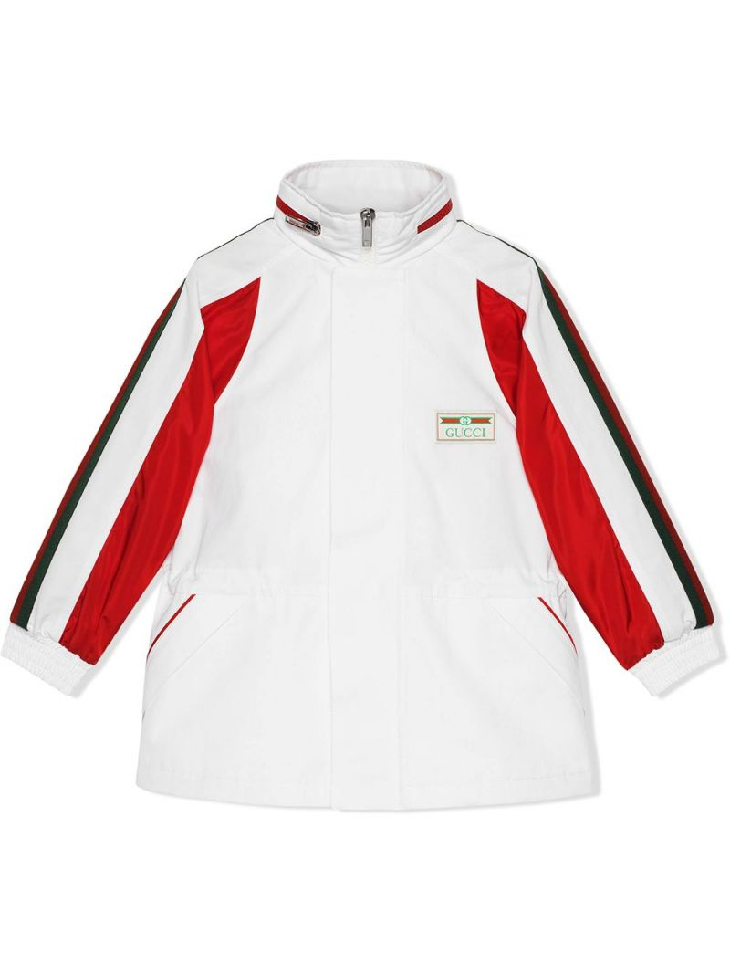 GUCCI CHILDREN: logo patch technical cotton windbreaker Color White_1