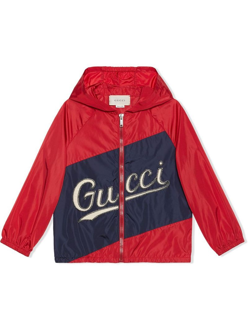 GUCCI CHILDREN: Gucci print nylon windbreaker Color Red_1