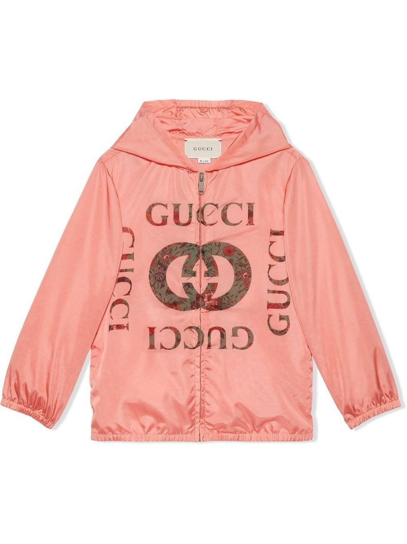 GUCCI CHILDREN: floral Interlocking G print nylon windbreaker Color Yellow_1