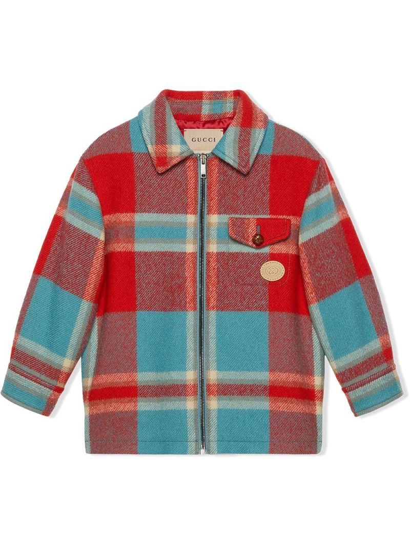 GUCCI CHILDREN: check wool overshirt Color Red_1