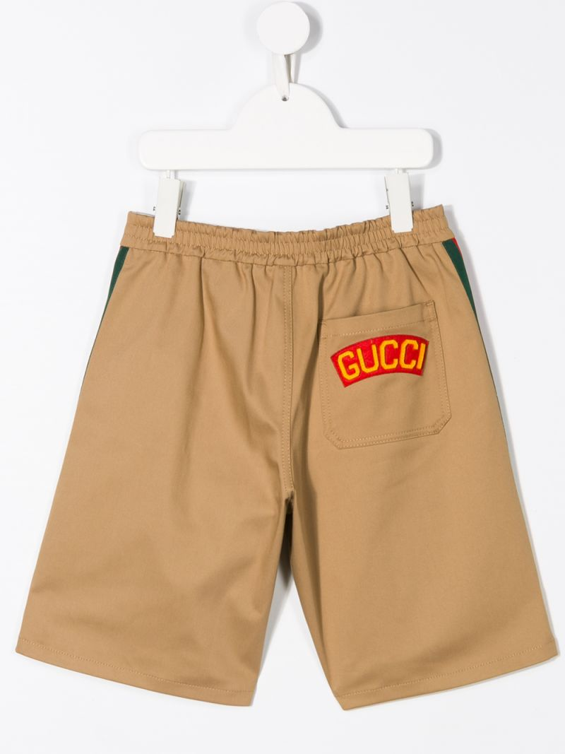 GUCCI CHILDREN: Web-detailed stretch cotton shorts_2