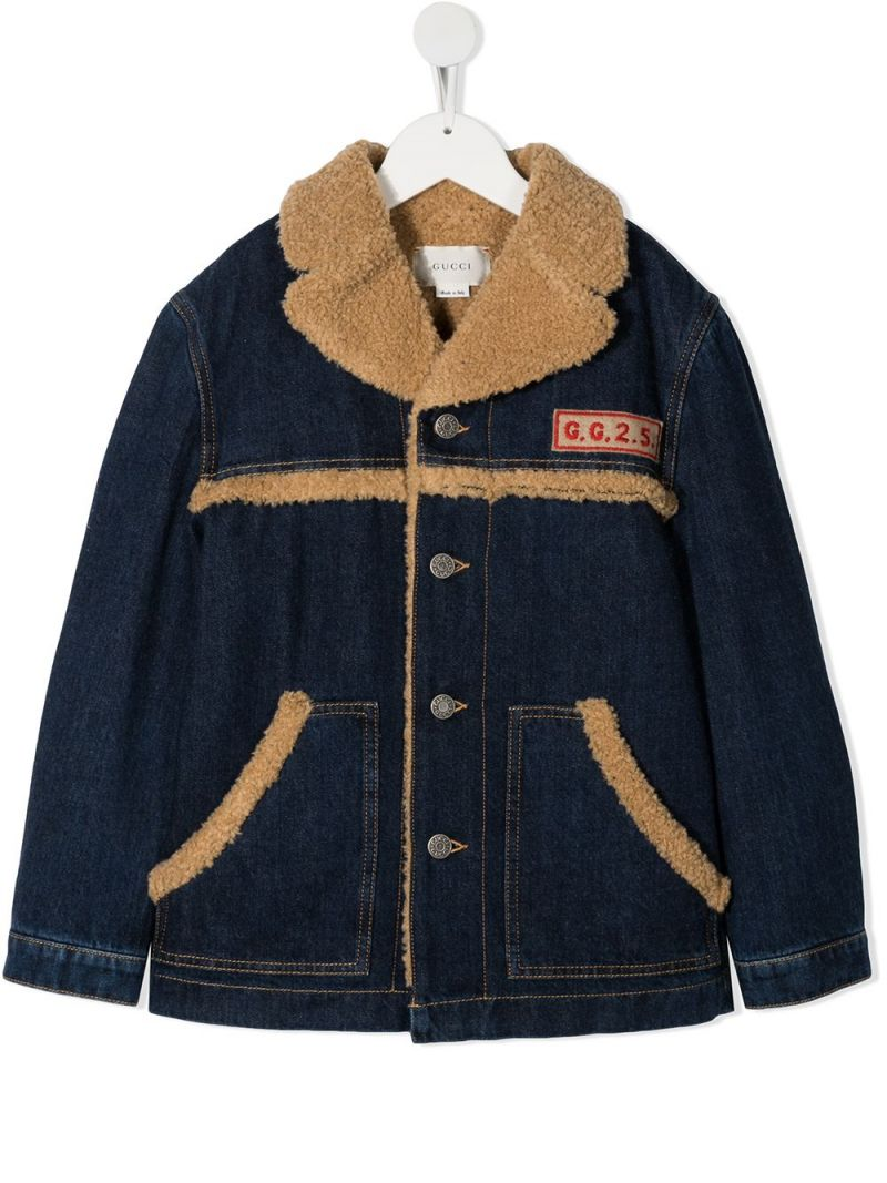 GUCCI CHILDREN: GGGG embroidered denim jacket Color Blue_1