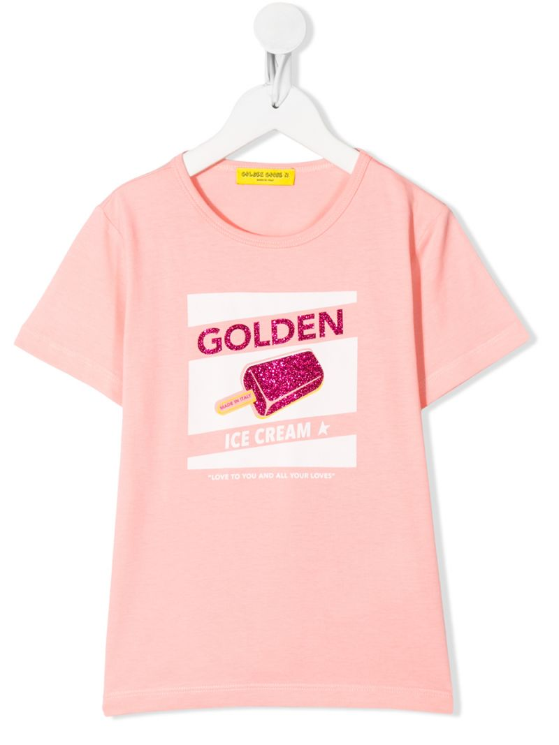 GOLDEN GOOSE DELUXE BRAND KIDS: t-shirt in cotone stampa Ice Cream_1