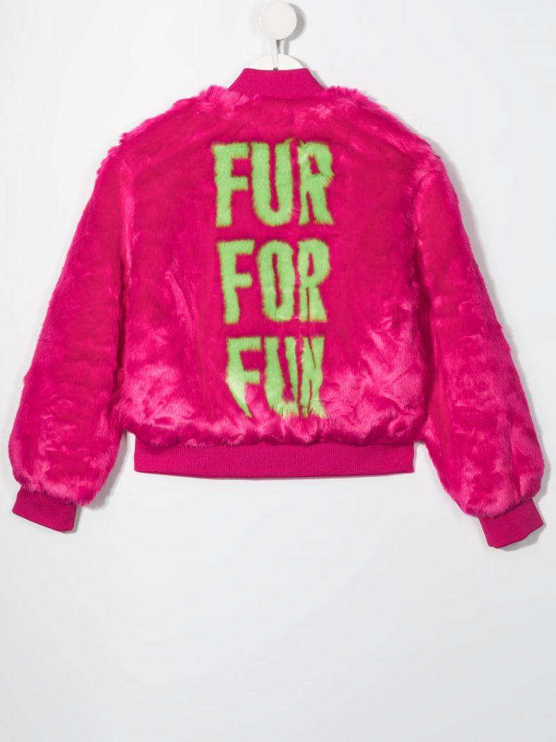 MOSCHINO KIDS: Fur For Fun faux fur bomber jacket Color Red_2