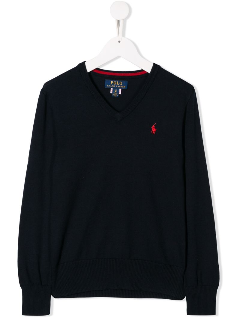 RALPH LAUREN KIDS: Pony embroidered cotton pullover Color Blue_1