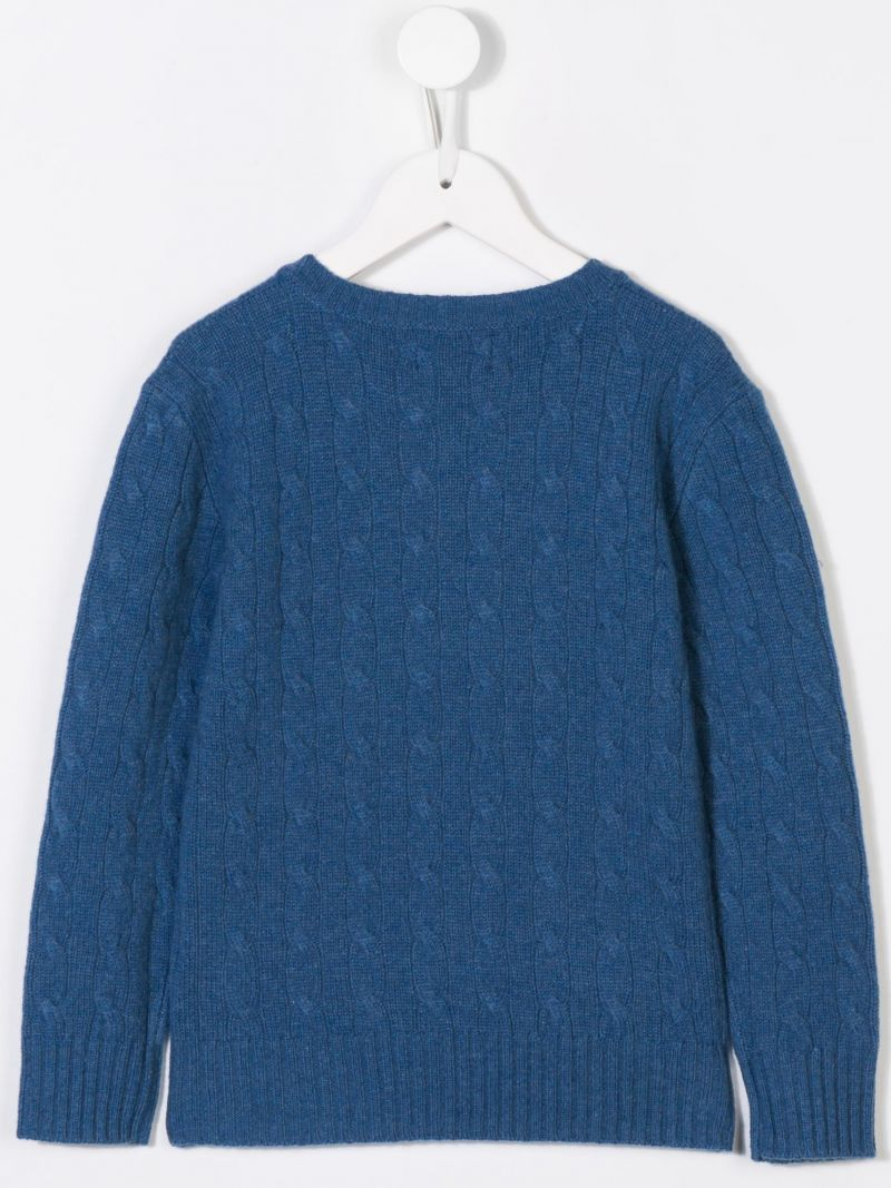 RALPH LAUREN KIDS: logo embroidered wool and cashmere pullover Color Blue_2