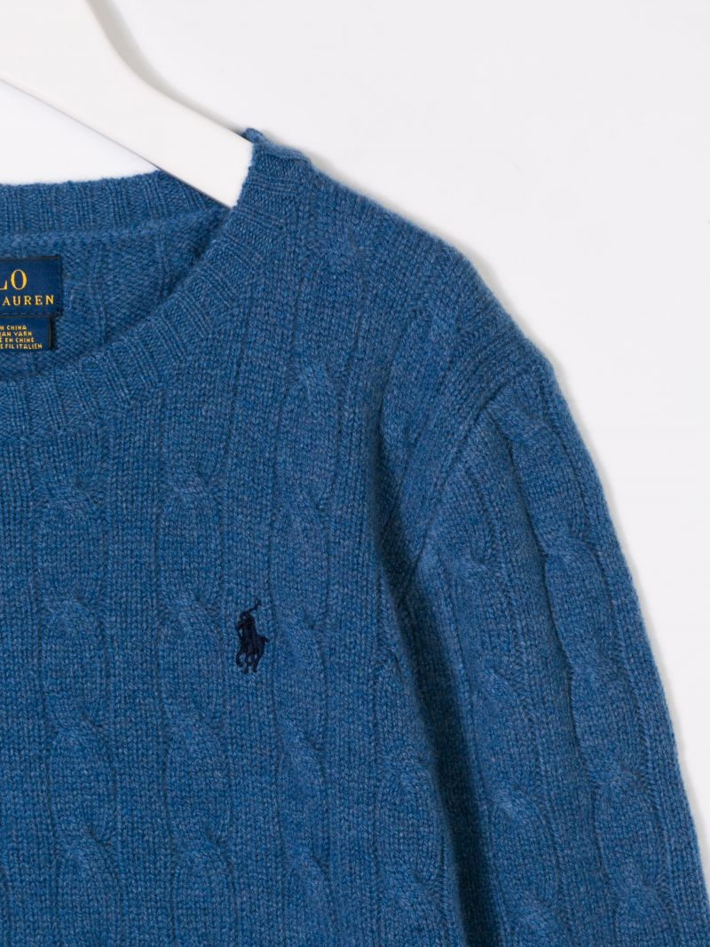 RALPH LAUREN KIDS: logo embroidered wool and cashmere pullover Color Blue_3
