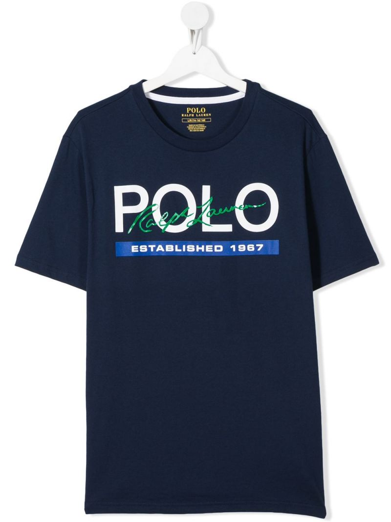 RALPH LAUREN KIDS: Polo print cotton t-shirt Color Blue_1
