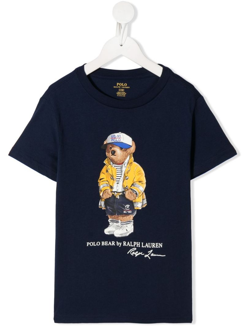 RALPH LAUREN KIDS: Polo Bear print cotton t-shirt Color Blue_1