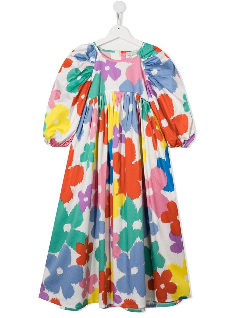 STELLA McCARTNEY KIDS: floral print organic cotton dress Color Multicolor_1