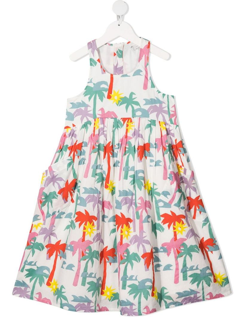 STELLA McCARTNEY KIDS: Palms print cotton sleeveless dress Color White_1