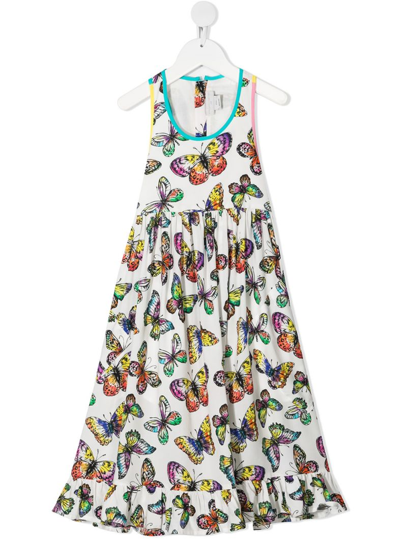 STELLA McCARTNEY KIDS: butterfly print viscose sleeveless dress Color White_1