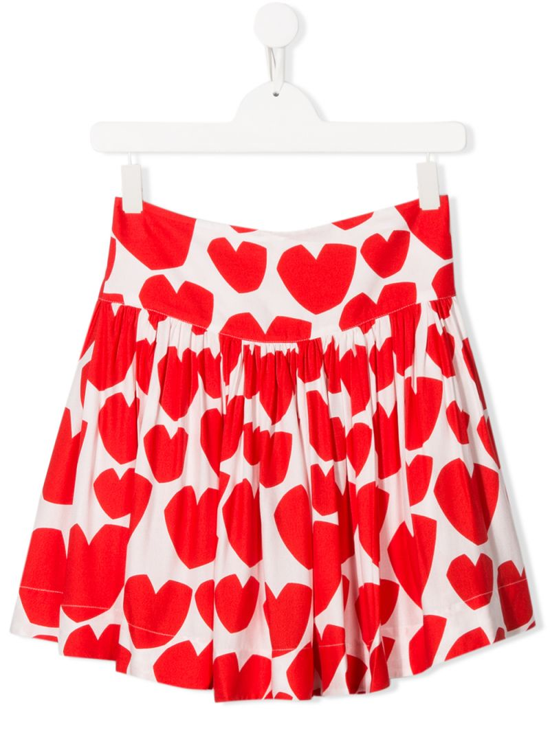 STELLA McCARTNEY KIDS: hearts printed crepe pleated skirt Color White_1