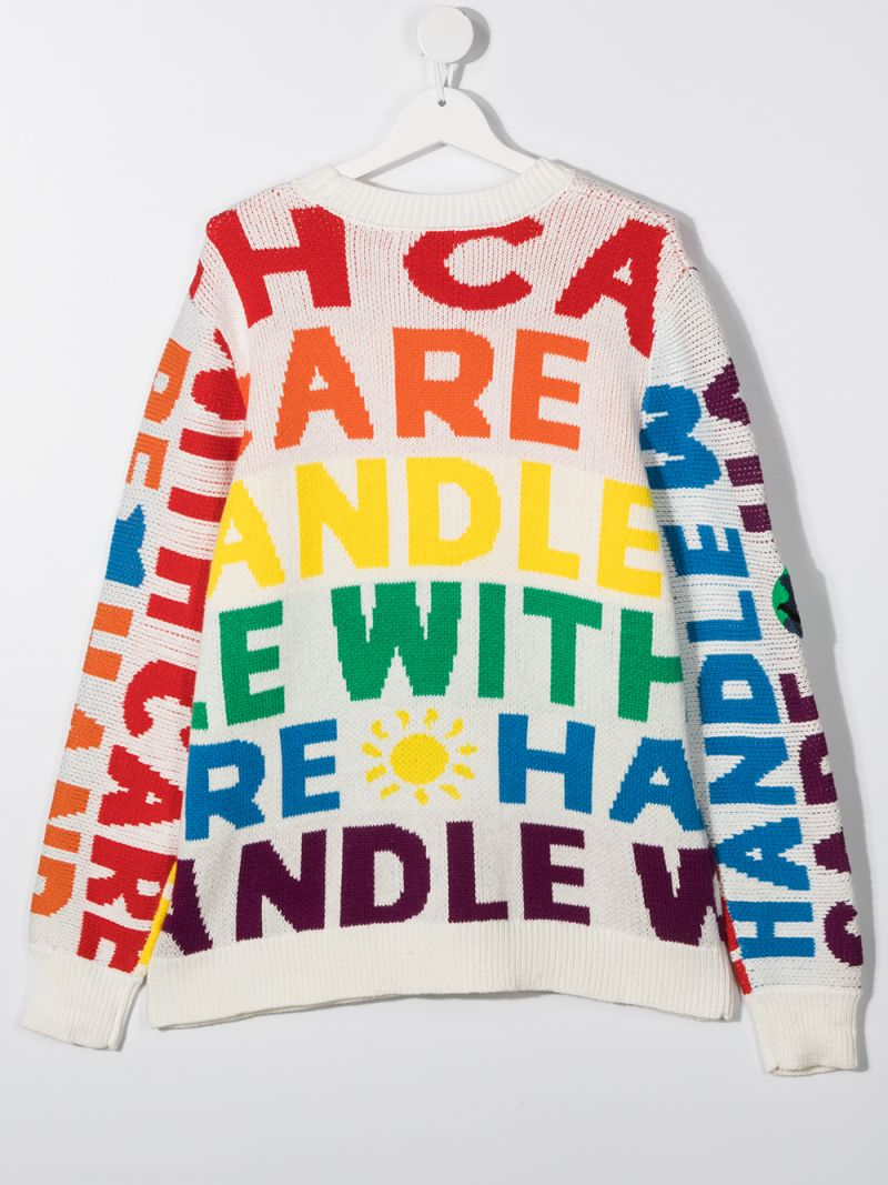 STELLA McCARTNEY KIDS: pullover in cotone e lana intarsio Handle with care Colore Multicolore_2