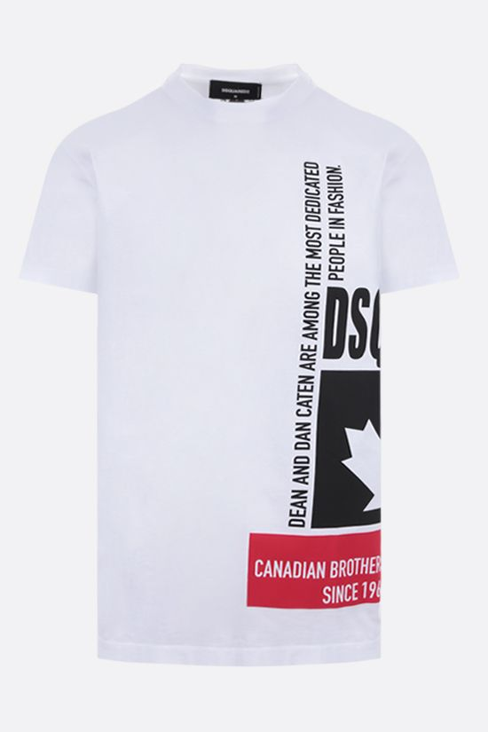 DSQUARED2: graphic logo print cotton t-shirt Color White_1