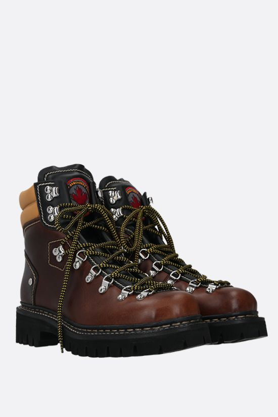 DSQUARED2: smooth leather hiking boots Color Brown_2
