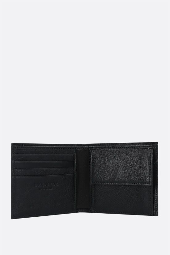DSQUARED2: Icon Dsquared2 grainy leather billfold wallet Color Black_2