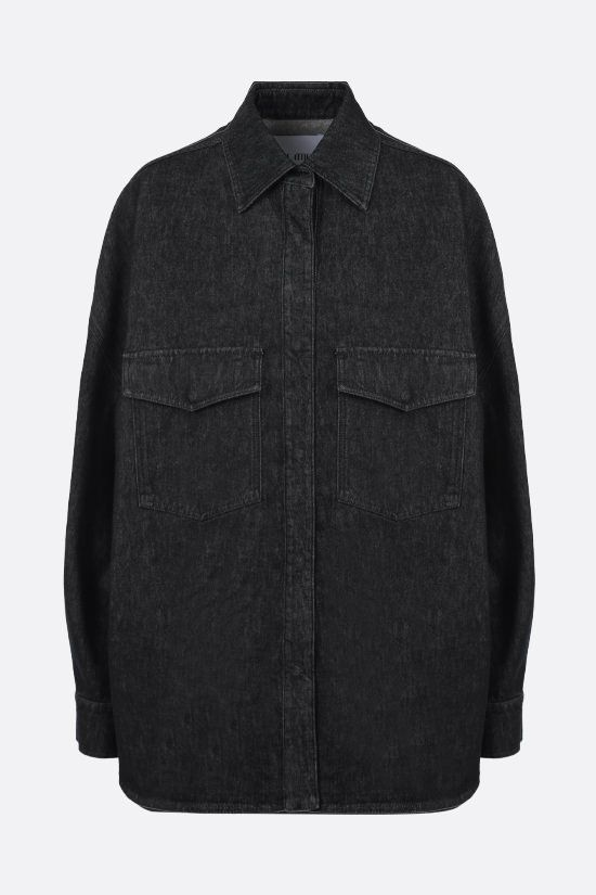 THE ATTICO: Lotta oversize denim overshirt Color Black_1