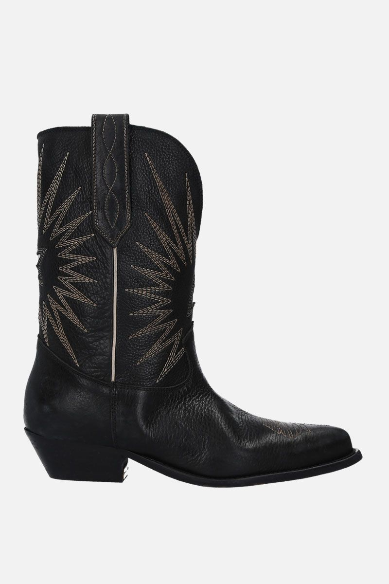 GOLDEN GOOSE DELUXE BRAND: Wish Star texan boots in vintage leather Color Black_1