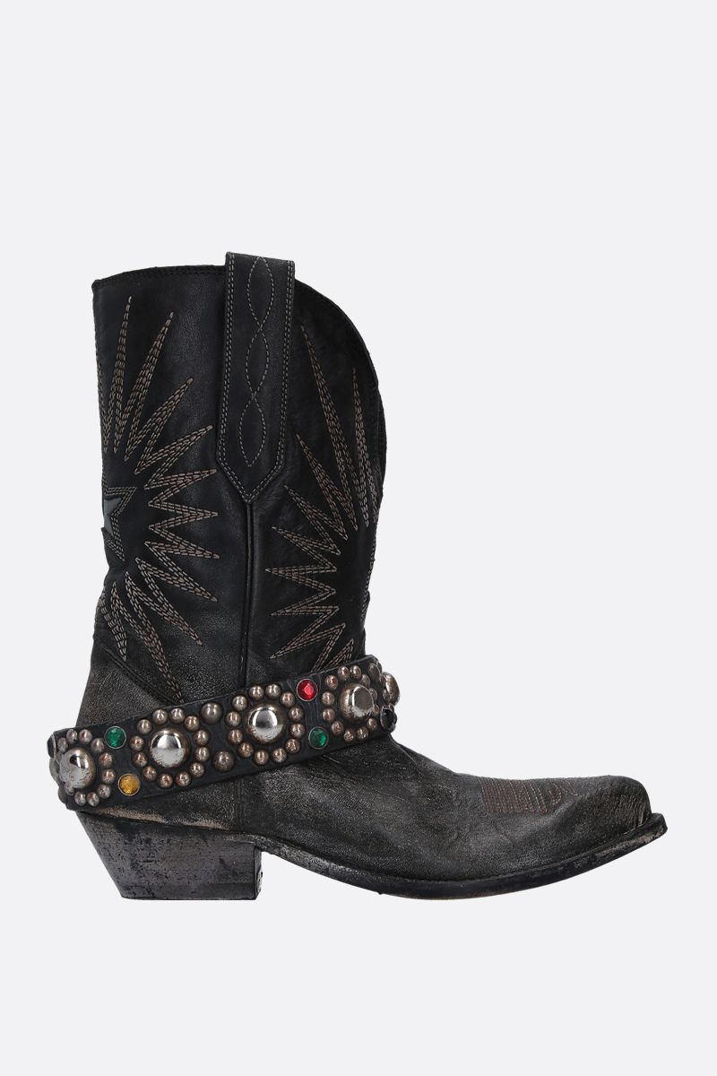 GOLDEN GOOSE DELUXE BRAND: Wish Star western boots in vintage leather Color Black_1