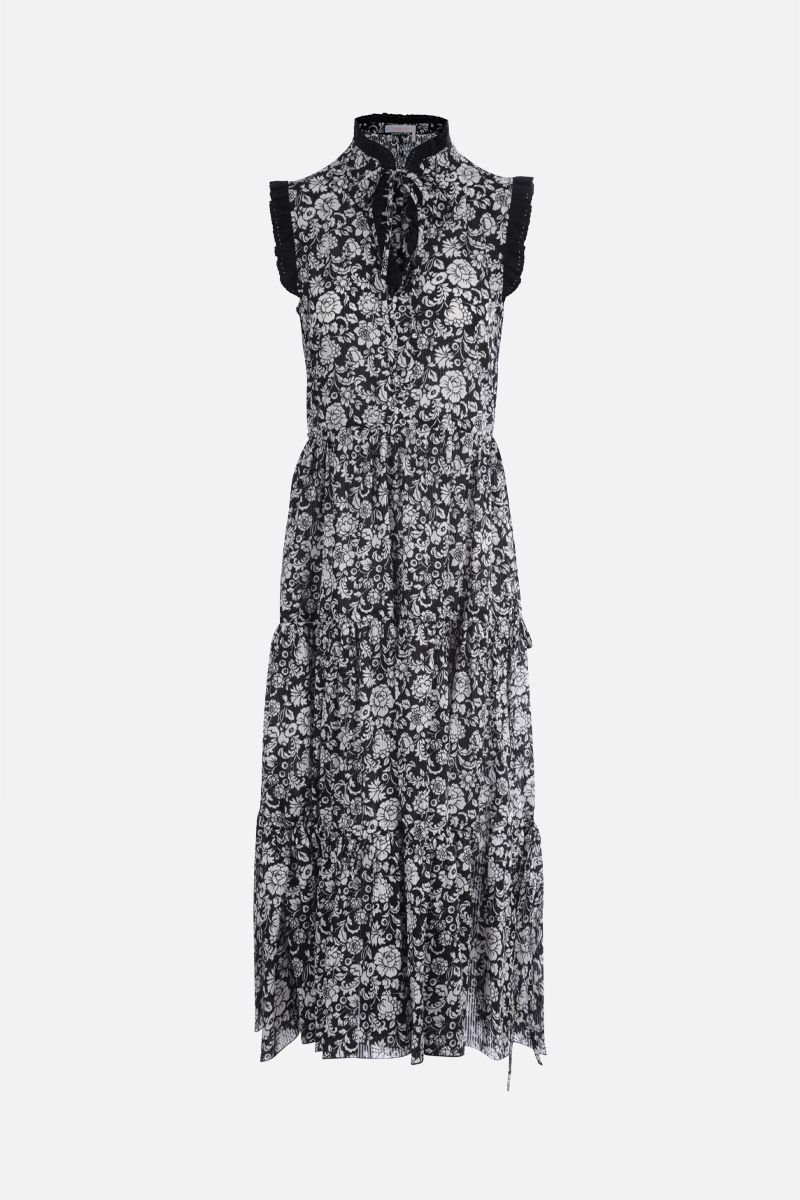 SEE BY CHLOÈ: Graphic peonies print cotton sleeveless dress Color Black_1
