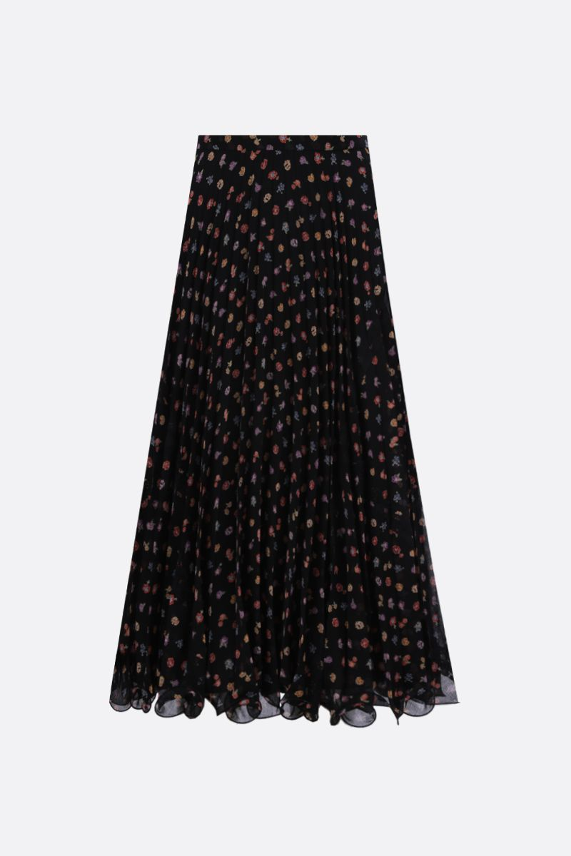 SEE BY CHLOÈ: floral print georgette pleated skirt Color Black_1