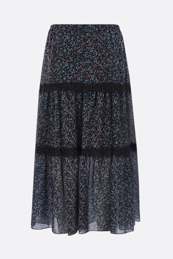 SEE BY CHLOÈ: Floral haze print gerogette midi skirt Color Blue_2