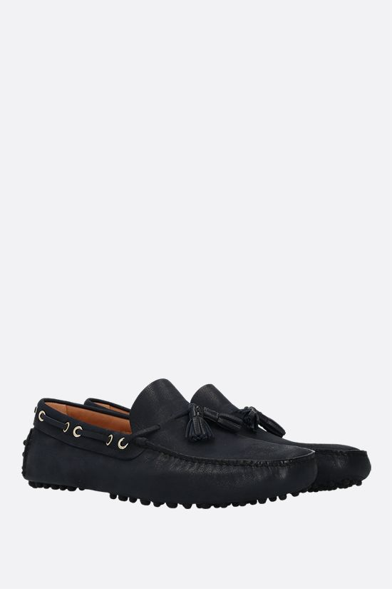 CAR SHOE: grainy leather driving loafers Color Blue_2