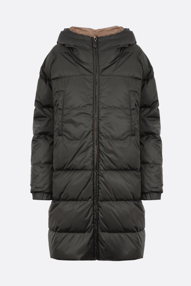 MAX MARA THE CUBE: Sportl technical taffetà reversible down jacket Color Brown_1