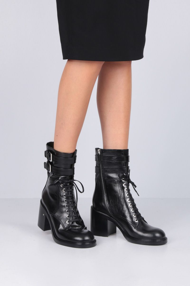 LAURENCE DACADE: Pilar lace-up boots in vintage leather Color Black_2
