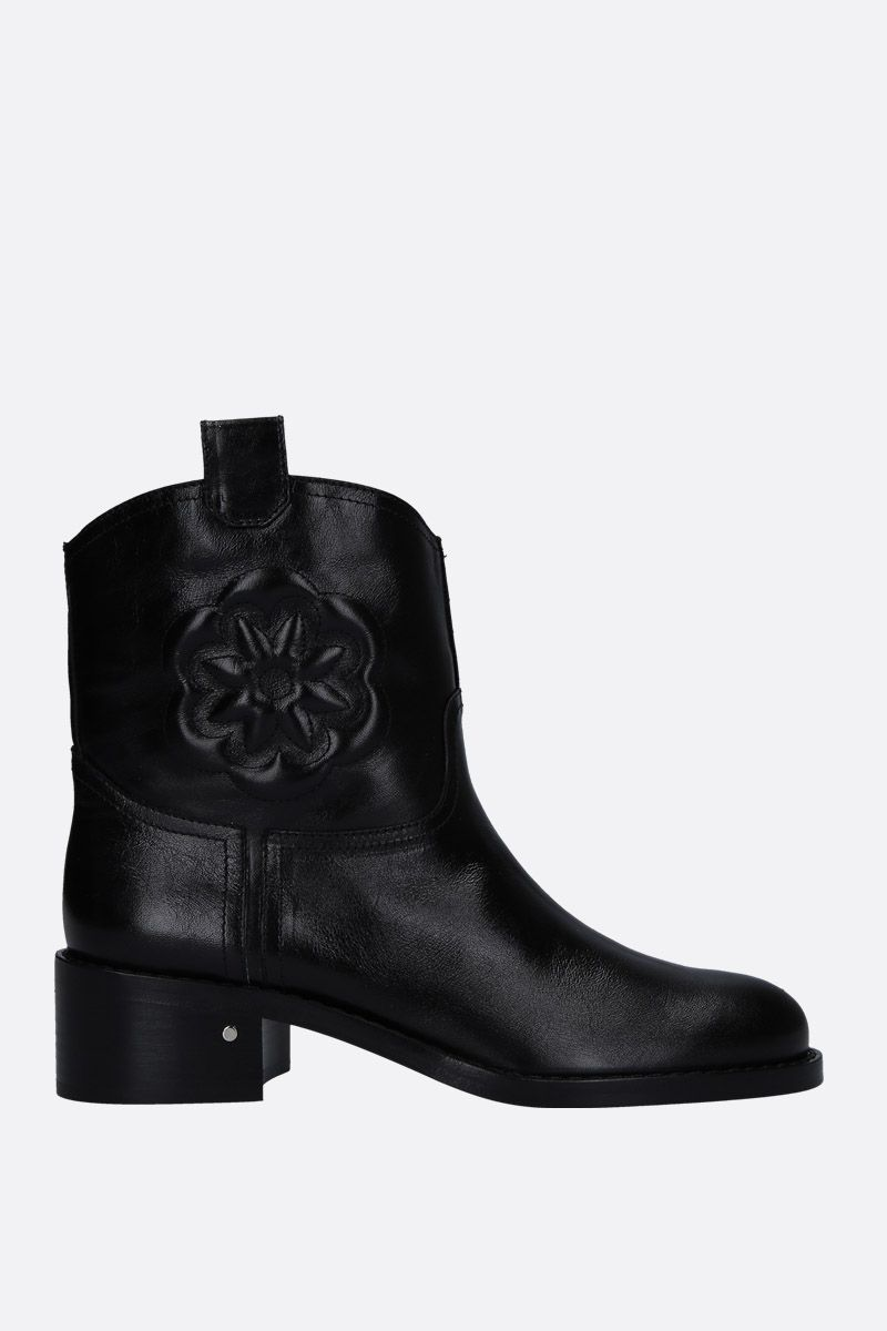 LAURENCE DACADE: Tebaldo ankle boots in vintage leather Color Black_1