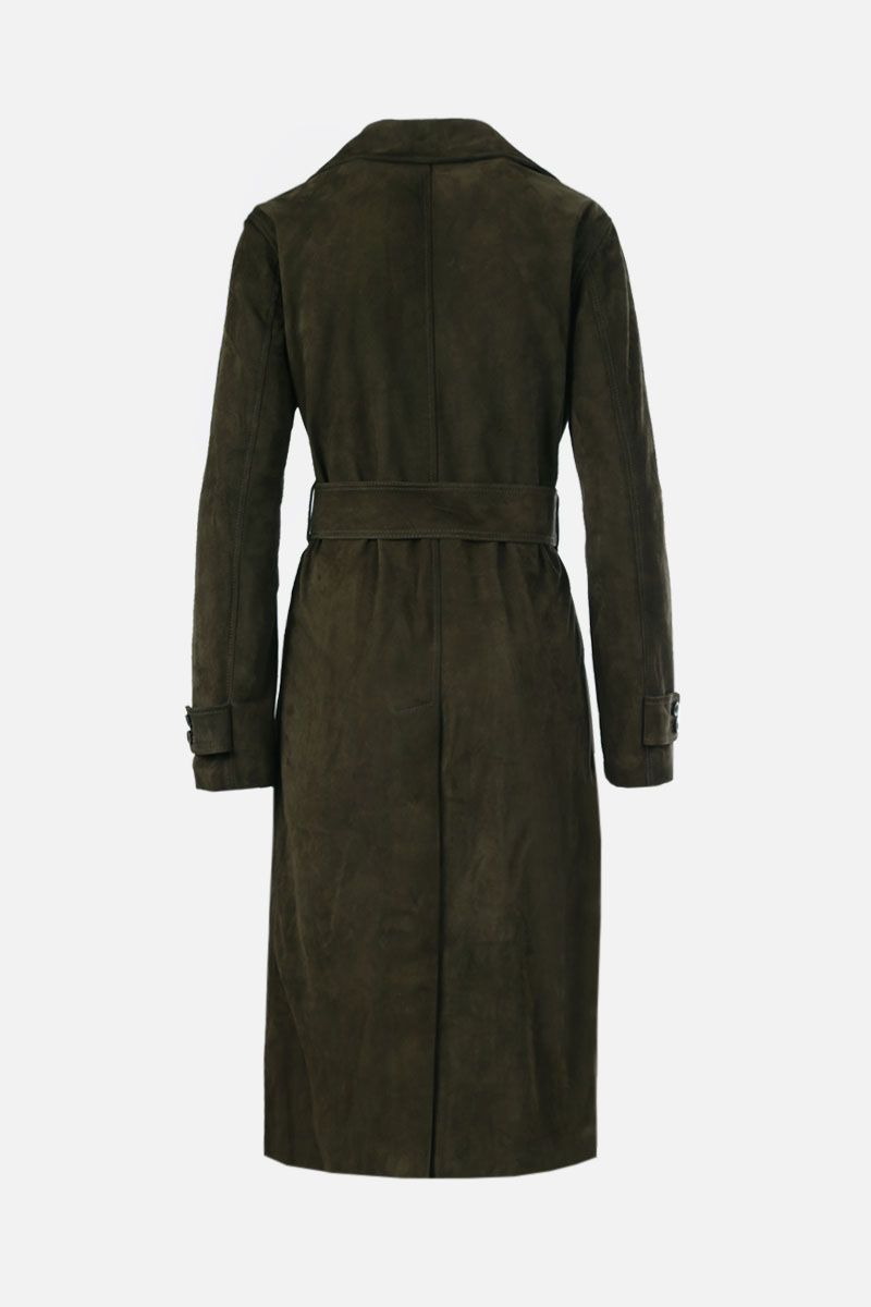 GOLDEN GOOSE DELUXE BRAND: Abigail soft suede double-breasted trench coat Color Green_2