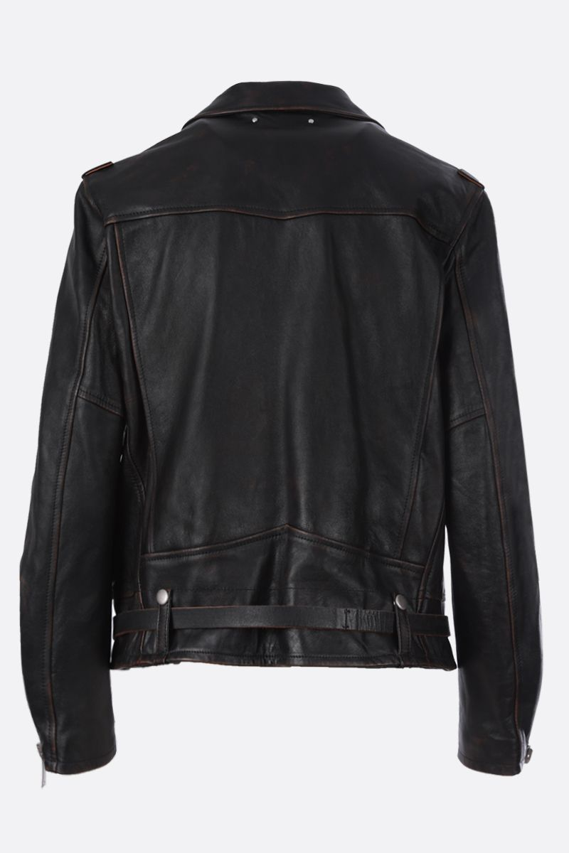 GOLDEN GOOSE DELUXE BRAND: Andrea vintage-effect nappa biker jacket Color Black_2