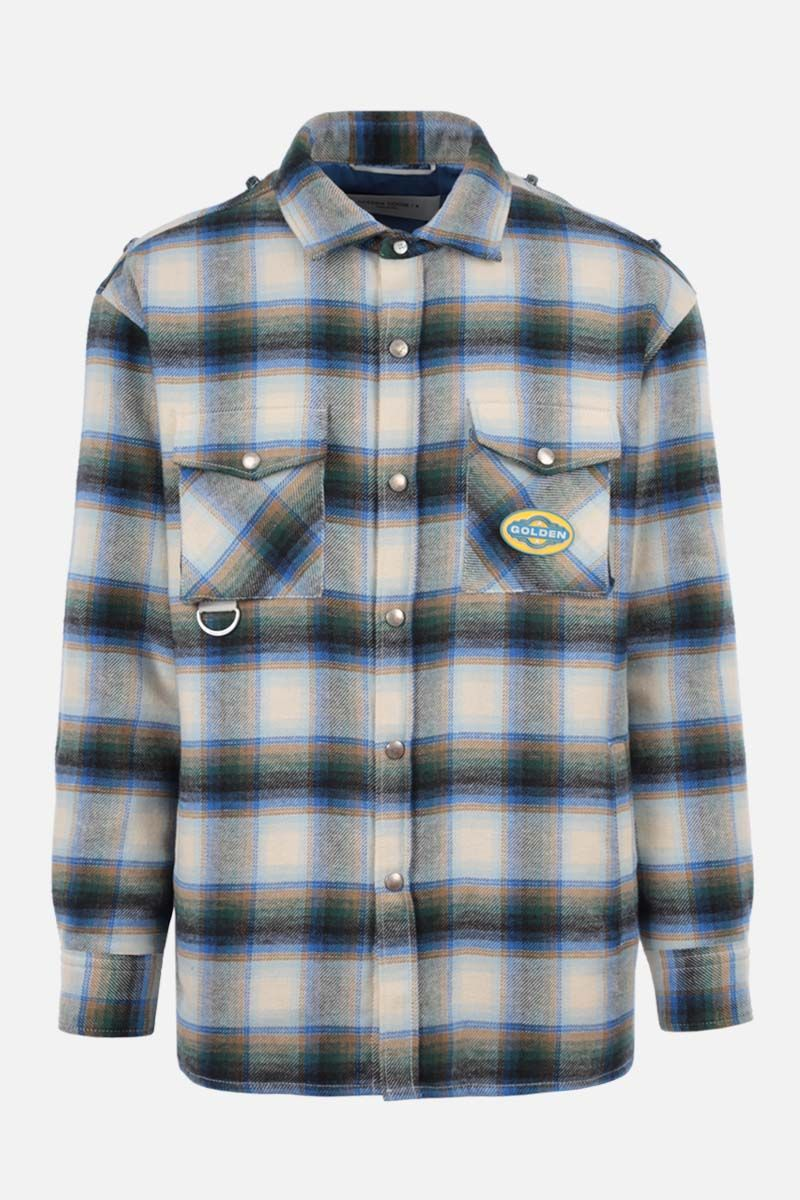 GOLDEN GOOSE DELUXE BRAND: Allen flannel padded overshirt Color Blue_1