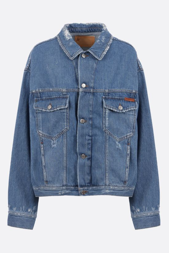 GOLDEN GOOSE DELUXE BRAND: Babette oversize printed denim jacket Color Blue_1