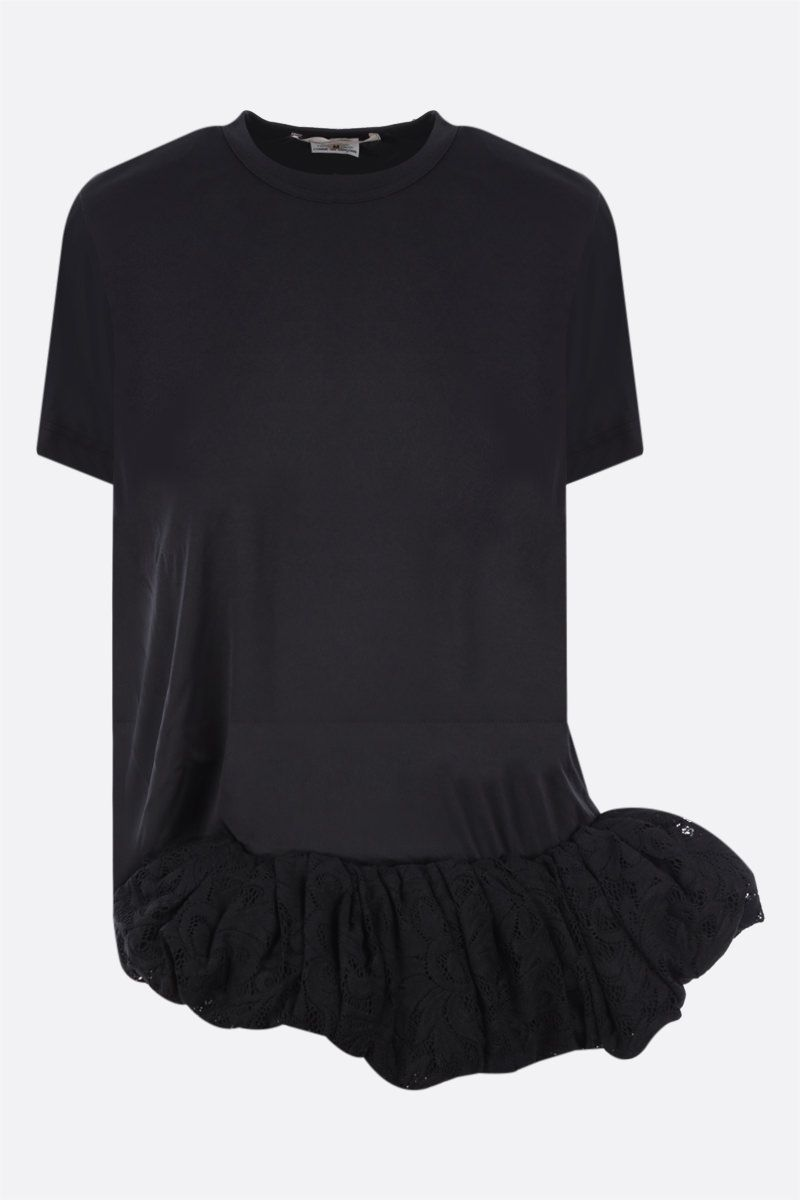 COMME des GARCONS: t-shirt in jersey con balza in pizzo Colore Black_1