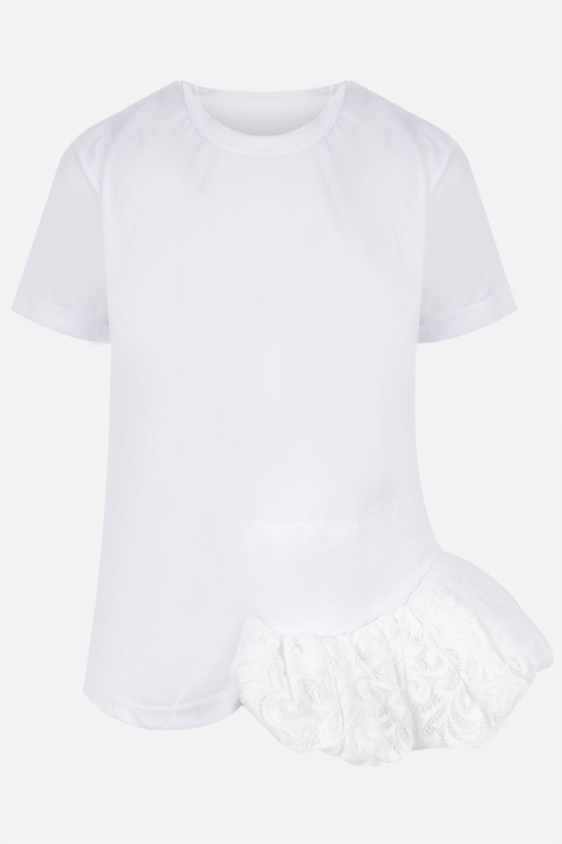 COMME des GARCONS: t-shirt in jersey con balza in pizzo Colore White_1