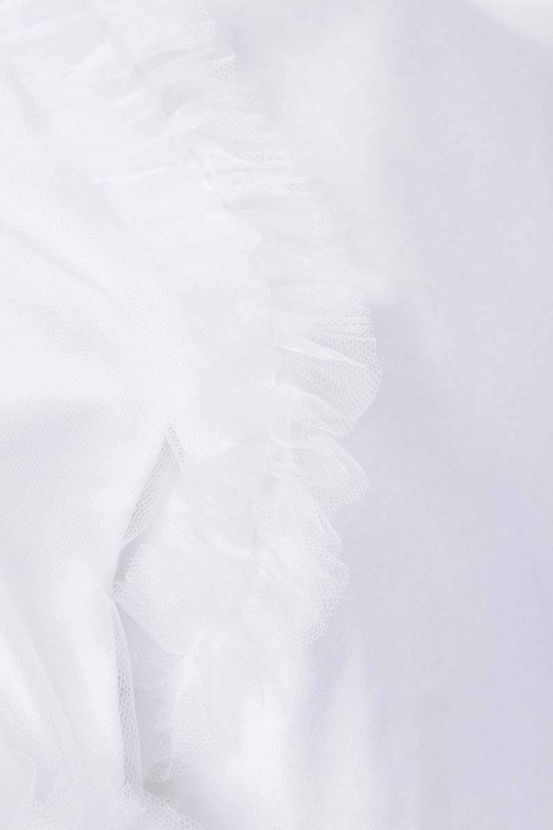 COMME des GARCONS NOIR KEI NINOMIYA: t-shirt in cotone con rouches Colore White_4
