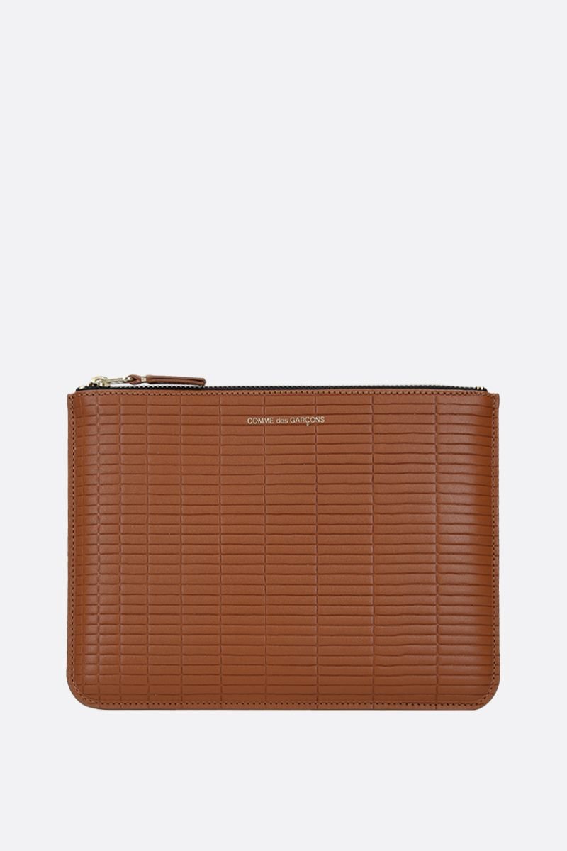 COMME des GARCONS WALLET: textured leather large pouch Color Neutral_1