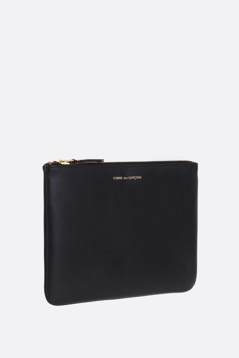 COMME des GARCONS WALLET: smooth leather large pouch Color Black_2