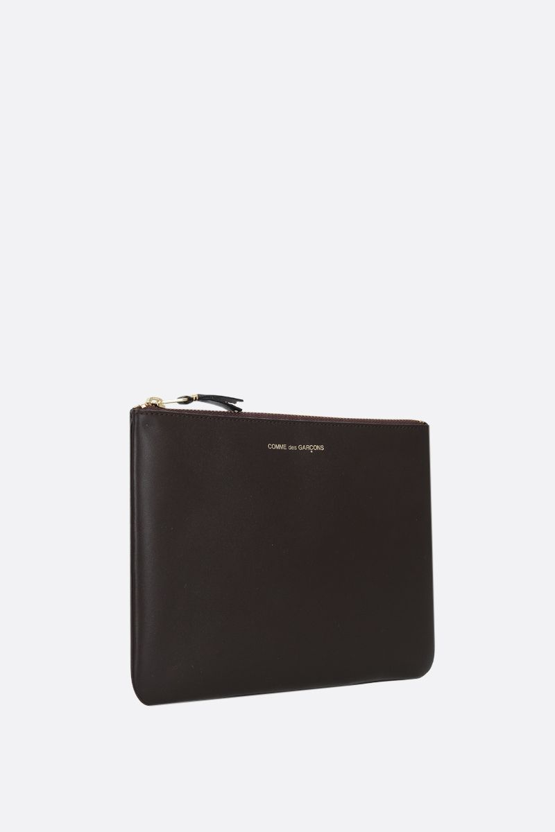COMME des GARCONS WALLET: smooth leather large pouch Color Brown_2