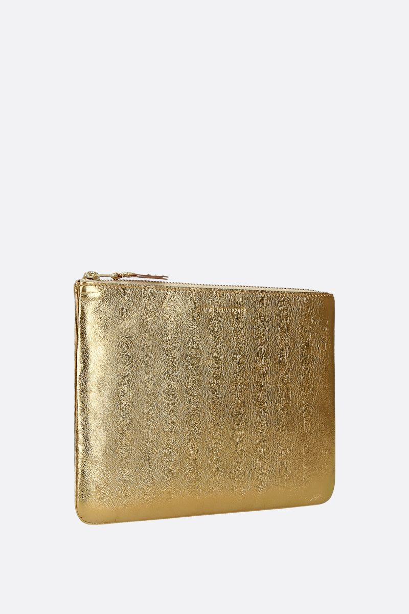 COMME des GARCONS WALLET: laminated leather large pouch Color Gold_2