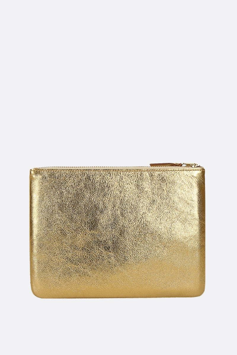 COMME des GARCONS WALLET: laminated leather large pouch Color Gold_3