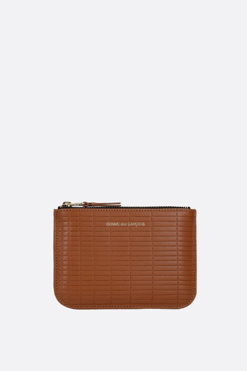 COMME des GARCONS WALLET: textured leather small pouch Color Neutral_1