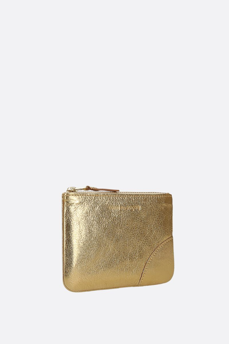COMME des GARCONS WALLET: busta small in pelle laminata Colore Oro_2