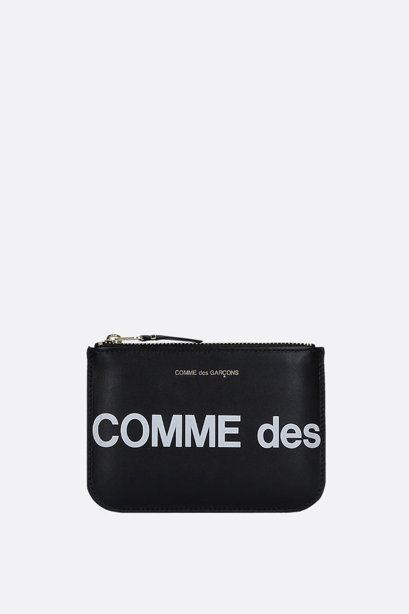 COMME des GARCONS WALLET: busta small in pelle liscia stampa logo Colore Nero_1
